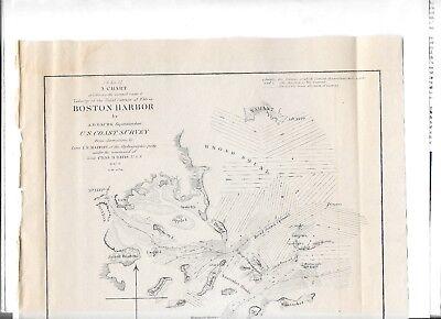 1851 Original Map Superintendent Of Us Coast Guard Survey Boston Harbor 2
