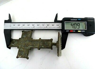Ancient Byzantine Medieval bronze Cross Crucifix with bread stamp Prosphora 9