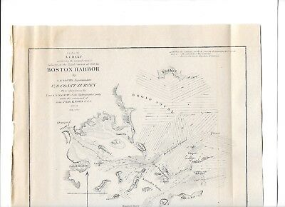 1851 Original Map Superintendent Of Us Coast Guard Survey Boston Harbor 12