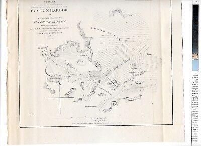 1851 Original Map Superintendent Of Us Coast Guard Survey Boston Harbor 4