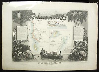 Colonies francesas 1854 África Senegambia Madagascar Senegal Atlas Mapa Map 2