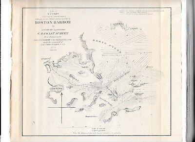 1851 Original Map Superintendent Of Us Coast Guard Survey Boston Harbor 9