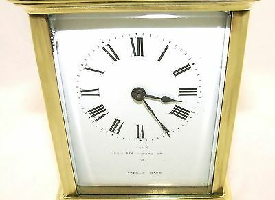 Antique Brass & Bevelled Glass Carriage Clock JAYS 142 & 144 OXFORD ST. W  (46) 4