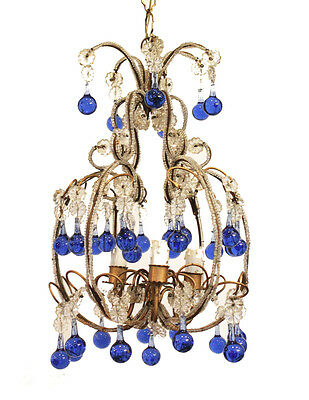 Rare Incredible Antique Italian Beaded Chandelier Blue Drops Gorgeous 2