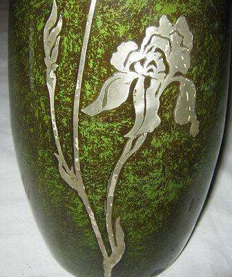 Antique Heintz Arts & Crafts Sterling On Bronze Lg Flower Garden Plant Urn Vase 3