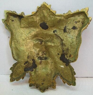 Exquisite 19c Antique Brass Figural Face Ornate High Relief Scary Architectural 9