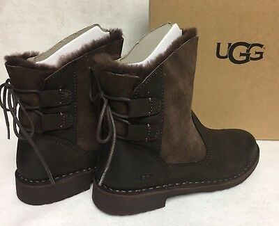 2967924d57a UGG AUSTRALIA NAIYAH Stout Brown Boot Lace Up Shearling Lace Up women's  1019164