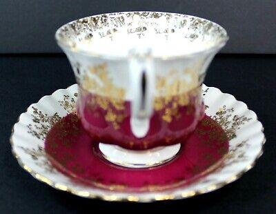 Royal Albert Regal Series Burgundy Footed Cup & Saucer Bone China 4396 Mint 5