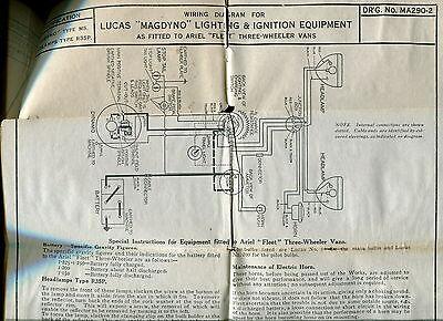 1930s vintage lucas wiring diagrams ariel motorcycle rh picclick com ariel atom wiring diagram ariel colt wiring diagram