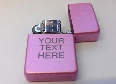 Engraved PINK Personalised Star Petrol Lighter Birthday Valentines Present Gift 3