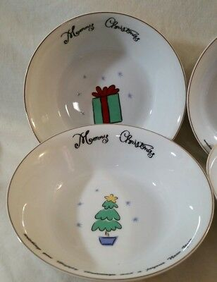 """NEW Merry Brite 4 Christmas Soup/Cereal Bowls Santa, Reindeer, Gift & Tree 61/2"""" 3"""