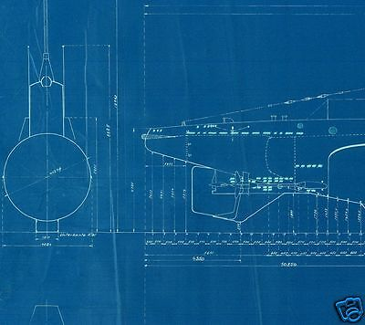 U BOAT VII PLANS BLUEPRINTS RARE detail set WW2 Period WOLF ... U Boat Schematics on