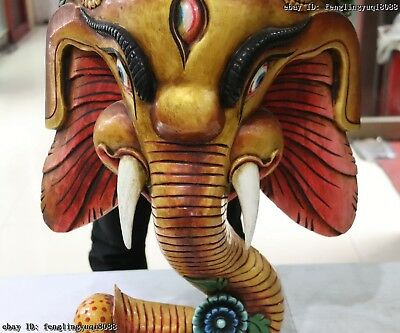 Thailand Temple Old Wood Hand Carved Color Painted Elephant God Head Statue Mask 6