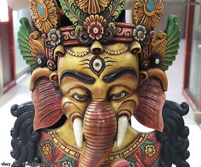 30 Thailand Buddhism Old Wood Hand Carved Color Painted Elephant God Head Mask 4