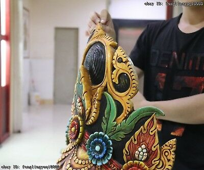 Thailand Temple Old Wood Hand Carved Color Painted Elephant God Head Statue Mask 9
