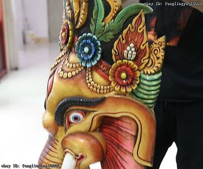 Thailand Temple Old Wood Hand Carved Color Painted Elephant God Head Statue Mask 10