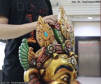 30 Thailand Buddhism Old Wood Hand Carved Color Painted Elephant God Head Mask 11