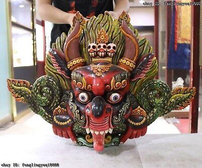 Tibet Temple Old Wood Hand Carved Color Painted Garuda Dhwaja Bird God Head Mask 2