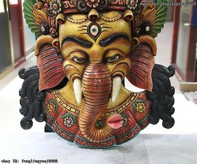 30 Thailand Buddhism Old Wood Hand Carved Color Painted Elephant God Head Mask 5
