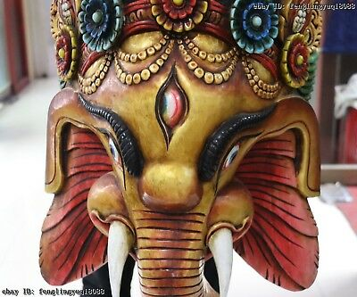 Thailand Temple Old Wood Hand Carved Color Painted Elephant God Head Statue Mask 5