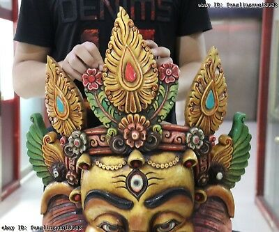 30 Thailand Buddhism Old Wood Hand Carved Color Painted Elephant God Head Mask 3