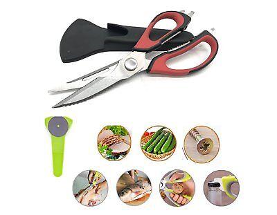 Kitchen Scissors 8in1 Stainless Steel Heavy Duty Bone W/ Magnetic Storage Holder 7