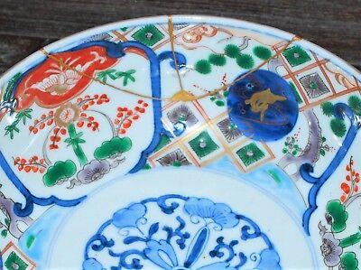 111-0110, Japanese Antique Bowl, Imari, Arita, Iroe, Kintsugi, Japon, Porcelain 2