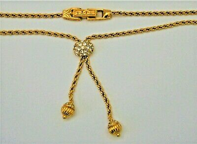 J206:) Vintage baroque gold tone ornate clasp diamante ball tassel necklace 2