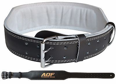 """AQF Weight Lifting 4"""" Leather Belt Back Support Strap Gym Power Training Fitness"""