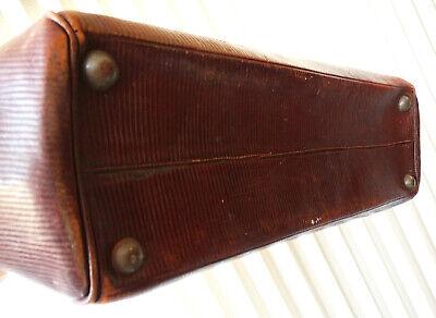 Antike Leder Arzttasche Doktortasche Tasche Sacvoyage Hebammentasche um 1900 6