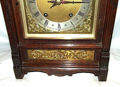 Antique Oak & Brass TING TANG Bracket Mantel Clock WINTERHALDER HOFFMEIER W & H 6