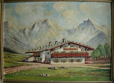 Vintage J. Neuberger Oil Painting on Board of Swiss Landscape 4