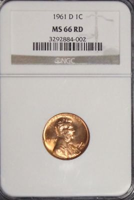1961 D MS 66 Red NGC Graded Lincoln Memorial Cent 3