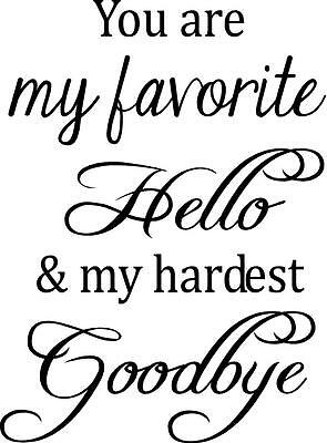 You Are My Favorite Hello My Hardest Goodbye Vinyl Wall Decal