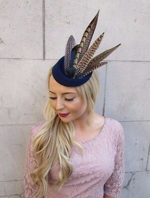 Navy Blue Brown Pheasant Feather Pillbox Hat Hair Fascinator Races Clip Vtg 4016 3