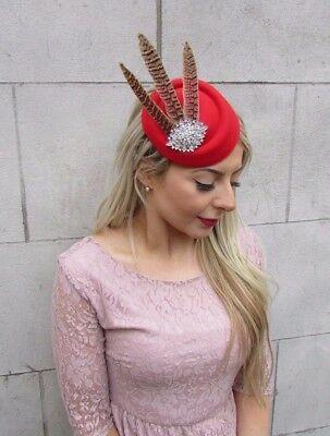 Red Silver Brown Pheasant Feather Pillbox Hat Hair Clip Fascinator Races 4596 2