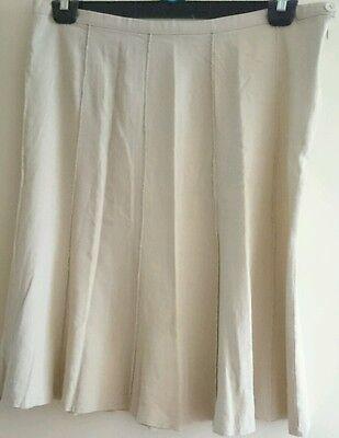 Linen skirt 14, 36' waist, 28' length, ivory cream,10 panel, button+zip. 3