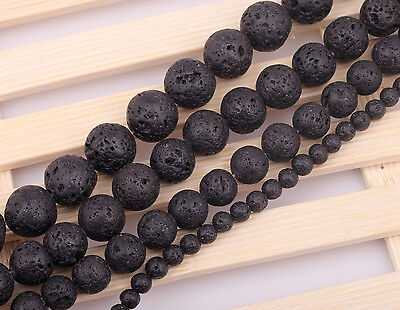 "Natural Black Volcanic Lava Stone Round Beads 15.5""4 6 8 10 12 14mm Pick Size 7"