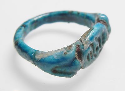 Zurqieh -Af2203-  Ancient Egypt. Time Of King Tut Faience Ring. Inscribed