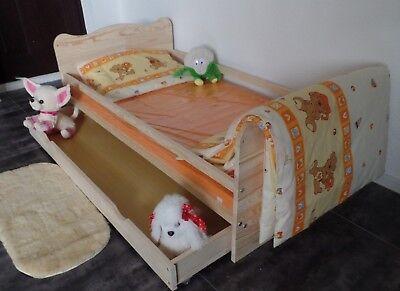 Babybett Gitterbett Kinderbett Komplet Set 70x140 UMBAUBAR 5 Farben Schublade 4