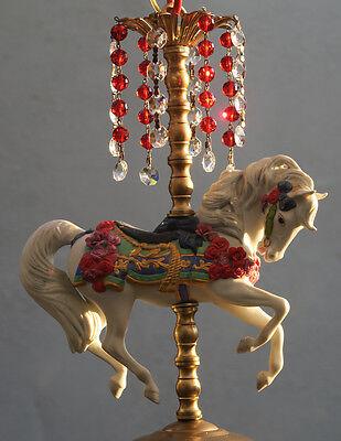 1 Porcelain Horse Carousel Lamp SWAG kids room Chandelier Vintage Crystal Rose 5