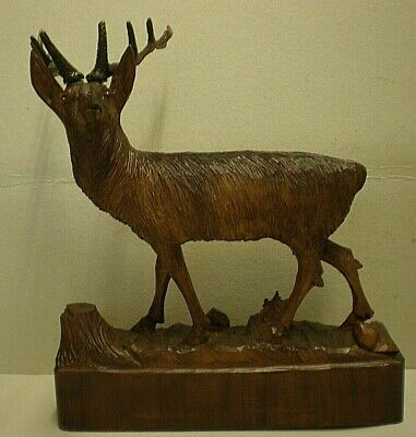 Large Antique Black Forest Stag Swiss Carving Signed 2