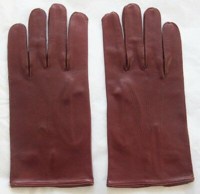 Pair Vintage English Make Leather Gloves w/ Button Fastening Approx 9.5 5