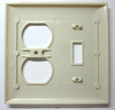 Sierra 2 Gang Combo Switch Outlet Wall Plate Cover Bakelite Beige Lines Vintage 4