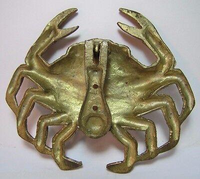 Vintage Figural Brass Crab Door Knocker unique architectural ornate details 6