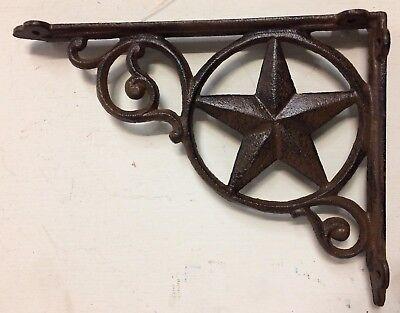 SET OF 4 WESTERN STAR SHELF BRACKET/BRACE, Antique Rustic Brown patina cast iron 3