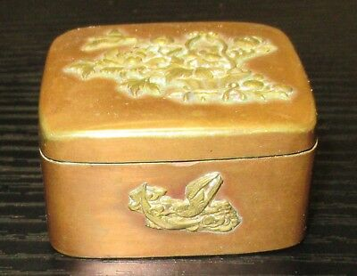 Old Bronze And Copper Japanese Mixed Metal Trinket Snuff Jar Box