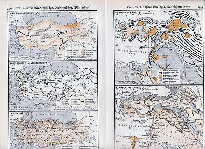Türkei Turkiye Syria 1934 orig. Karten + Lex.-Artikel Ankara Trabzon Istanbul TR