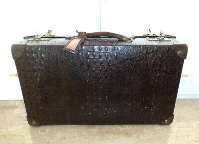 Real Volcano Fibre Suitcase um 1910 Vulcanised Fibre Travel Cases 11