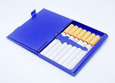 etui a cigarettes couleur bleu en 2 parti miroir et etui de 9 cigarette